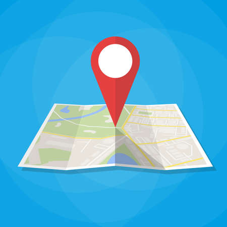 Navigation geolocation icon. Folded paper city map with red pin, vector illustration in flat design on blue background Vettoriali