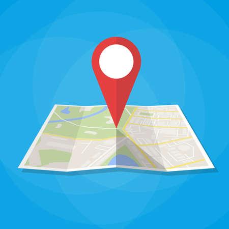 navegacion: icono de geolocalización navegación. Plegada mapa de la ciudad de papel con el pin rojo, ilustración vectorial en diseño plano sobre fondo azul