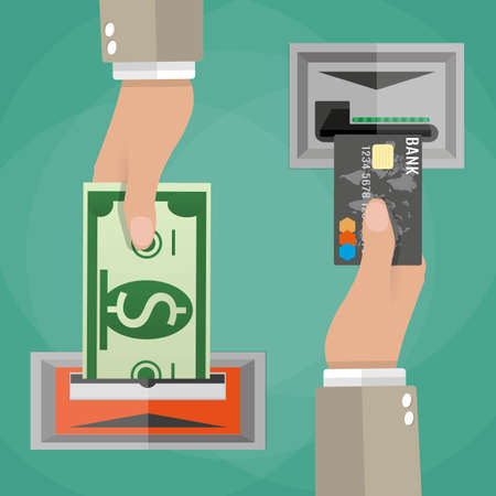 bankomat: ATM terminal usage concept. One hand inserts a credit card into ATM and another hand takes the money from the ATM.  vector illustration in flat design on green background