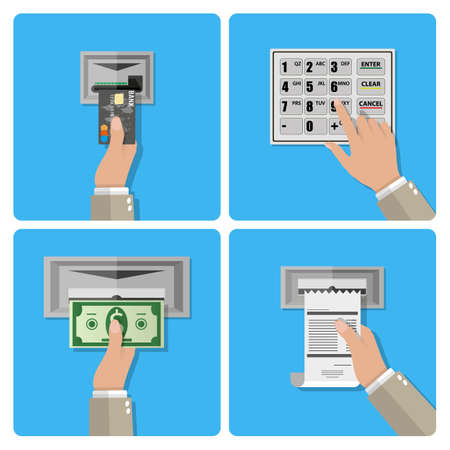 usage: ATM terminal usage concept in four steps. hand inserts a credit card into ATM, hand dials pin code, hand takes the money from the ATM, hand takes receipt.  vector illustration in flat design