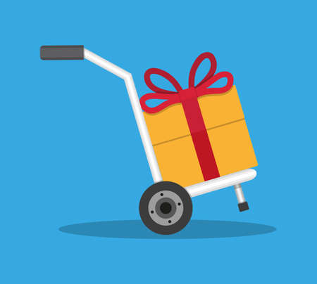 ribon: Metallic hand truck with orange gift box with red bow and ribon. delivery. hand truck icon. vector illustration in flat design on blue background Illustration