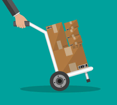 dolly: Metallic hand truck. delivery. hand truck icon. hand truck with brown boxes. vector illustration in flat design on green background Illustration