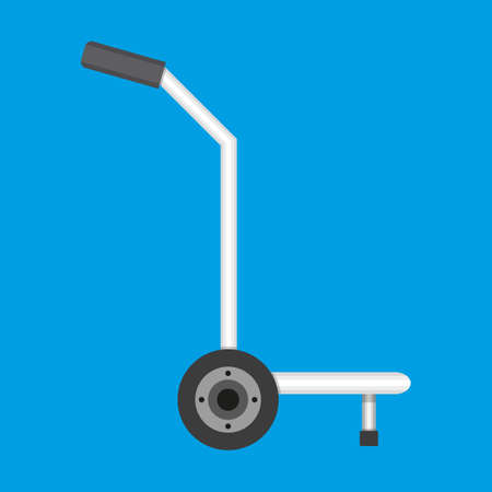 hand truck: Metallic hand truck. delivery. hand truck icon. vector illustration in flat design isolated on blue background