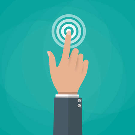 Hand touch. finger presses. Touch, push or press sign. illustration in flat design on green background Illustration