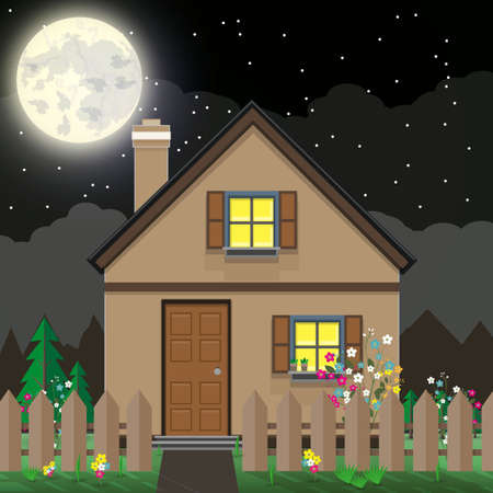 dark sky: Brown wooden house and garden with flowers. mountains, dark sky. moon. summer night background. illustration in flat design