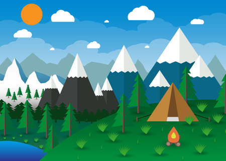 mountains and sky: Summer Campsite with a campfire, Lake, Forest, Mountains, Sky, clouds, sun. travel and vacation concept. illustration in flat design