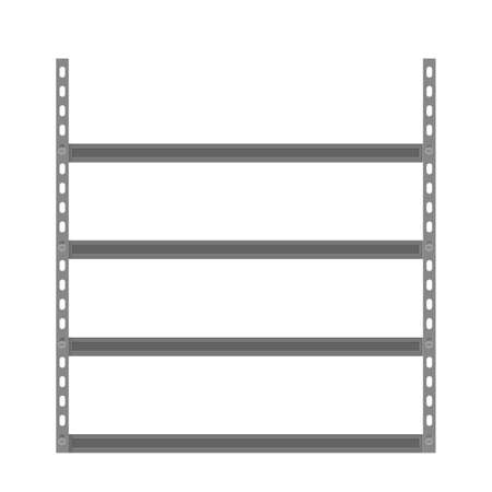storage: Empty metallic storage shelves. Storage Flat design. Storage illustration. Warehouse storage icon isolated on white background Illustration