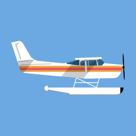 airplane ultralight: Small amphibian seaplane. plane icon. white sea plane in flat style isolated on blue background