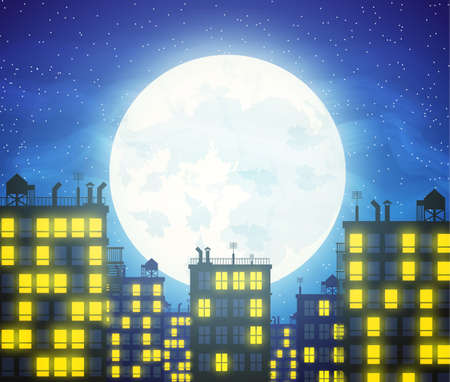 cloudy night sky: Silhouette of the city, buildings rooftops and cloudy night sky with stars and moon. illustration