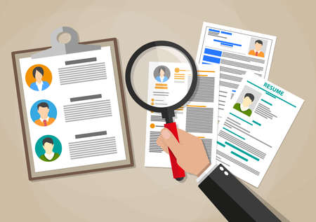 Human resources management concept, searching professional staff, work, hand with magnifying glass analyzing resume, documents papers. illustration in flat design on brown background Ilustração Vetorial
