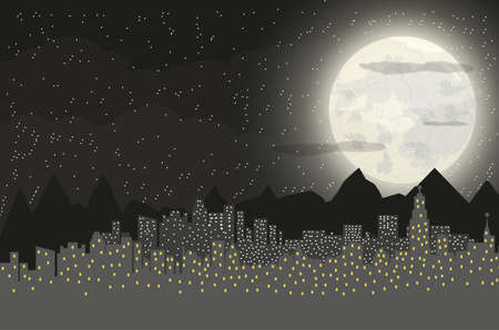 cloudy night sky: Silhouette of the city and mountains with cloudy night sky, stars and full moon. illustration