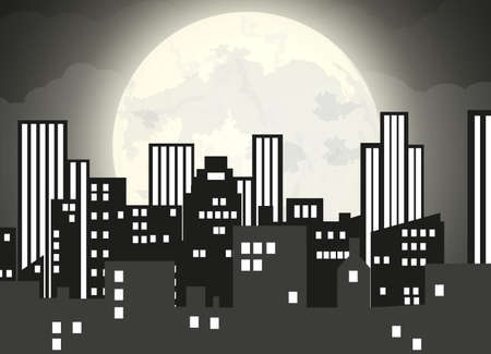 cloudy night sky: Silhouette of the city with cloudy night sky, stars and full moon. illustration