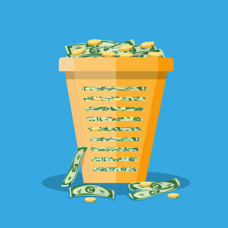 worthless: orange plastic office trash bin full of cash and gold coins. inflation concept.  illustration in flat design on blue background Illustration
