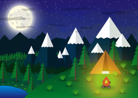 Summer Campsite with a campfire in night time, Lake, Forest, Mountains, Sky, clouds, moon. travel and vacation concept. vector illustration in flat design