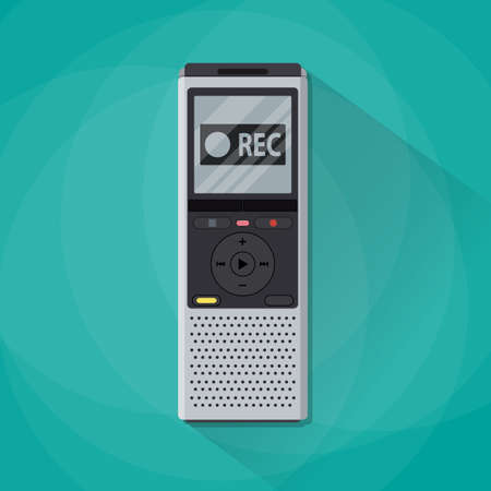 voice recorder: Dictaphone icon. Recorder icon. voice recorder. Journalist electronic equipment. vector illustration in flat design isolated on green background with long shadow Illustration