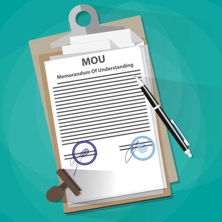 Agreement mou memorandum of understanding legal document concept, contract, documents folder, pencil and stamp. vector illustration in flat design on green background 向量圖像