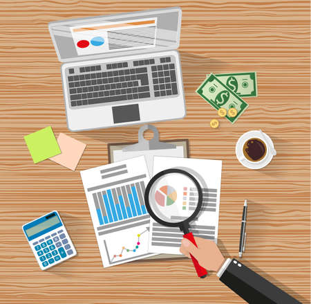 auditing: Auditor with magnifying glass at table during analysis of financial report. Financial audit concept. Auditing tax process. laptop, calculator, coffee, cash money. vector illustration in flat style