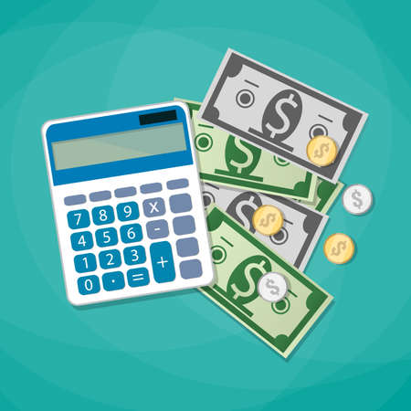 calculating: Calculator and dollars cash with coins. calculating costs, investment concpet. vector illustration in flat design on green background