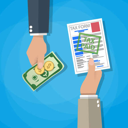 tax form: One cartoon hand giving tax form and another hand giving cash money, dollar banknote and coins. paying taxes concept. vector illustration in flat design on blue background Stock Photo