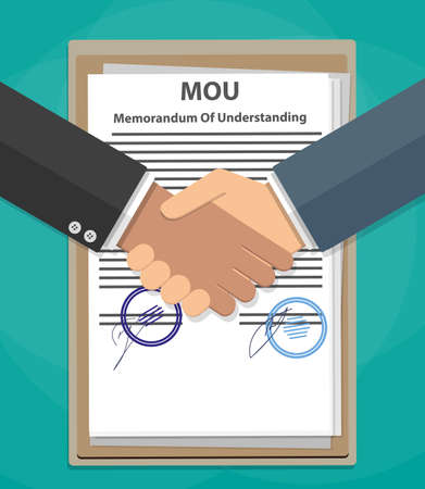 memorandum: Two cartoon Businessman handshake on mou memorandum of understanding legal document contract papers after agreement. vector illustration in flat style on green background