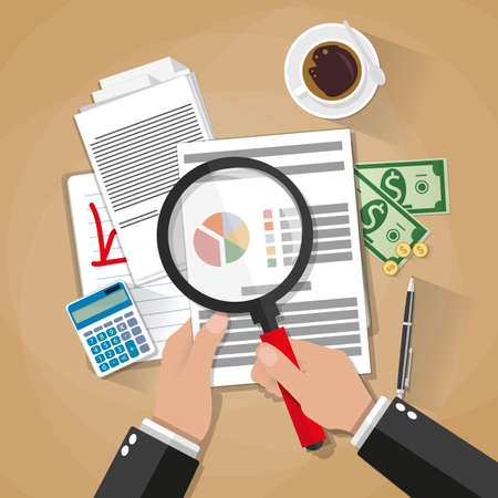 auditing: Cartoon businessman hands with magnifier analysis paper sheet, calculator, pen, coffee, money and coins. auditing tax, financial market analysis, seo, financial report. vector illustration in flat design on brown background