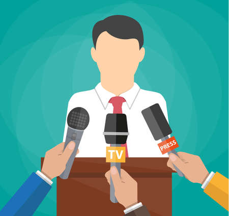 press conference: Public speaker and hands of journalists with microphones. Press conference concept, news, media, journalism. vector illustration in flat style on green background