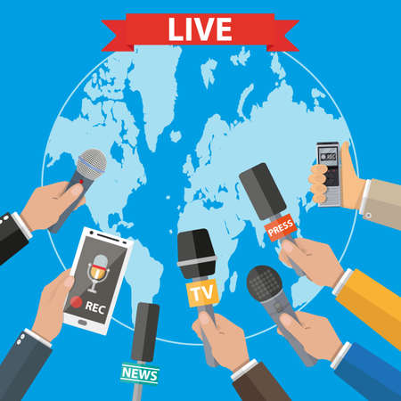 tape recorder: Few hands of journalists with microphones, tape recorder and smartphone. journalism, live report, hot news, television and radio casts concept. Illustration