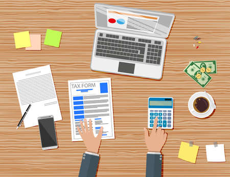 tax form: Businessman workplace wooden desk. Tax form, Table with coffee cup, smartphone, financial documents, pen, calculator, sticky notes. Illustration