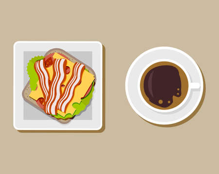 ham sandwich: Coffee cup with sandwich top view, coffee break, breakfast meal, fast food snack, burger and tea mug on plate. cheese, tomato. bread, ham, salad. vector illustration in flat style on brown background