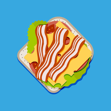 ham and cheese: Sandwich top view. toast bread, tomato, ham, salad and cheese. vector illustration in flat style on blue background