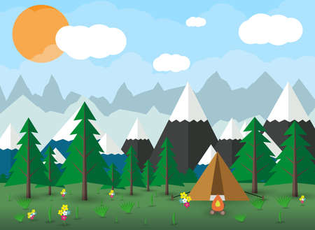 sky clouds: Summer Campsite with a campfire, Forest, Mountains, Sky, clouds, sun. travel and vacation concept. vector illustration in flat design Illustration