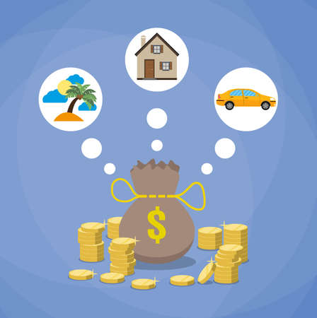 gold house: holidays, car and house. money bag and stacks of gold coins, investment, savings future planing concept. flat design. vecor illustration on blue background Illustration
