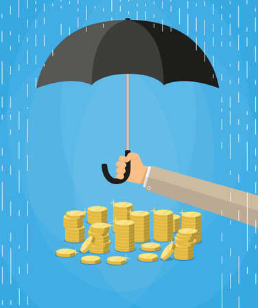 protect money: Hand holding umbrella under rain to protect money. money protection, financial savings concpet. vector illustration in flat style on blue background Illustration