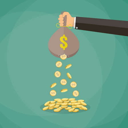hand holding money bag: Cartoon businessman hand holding money bag and losing golden coins that poured out from a hole in the bag. vector illustration in flat style on green background