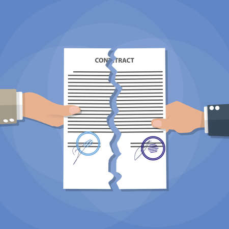 oppose: Cartoon businessman hands tearing apart contract. Contract termination concept. vector illustration in flat design on blue background