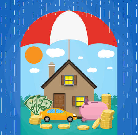 guard  guardian: Umbrella in rain protecting house, car, money. Concept of security of property, Vector illustration in flat style