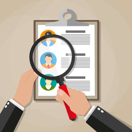 analyzing: Human resources management concept, searching professional staff, work, hand with magnifying glass analyzing resume, documents papers.