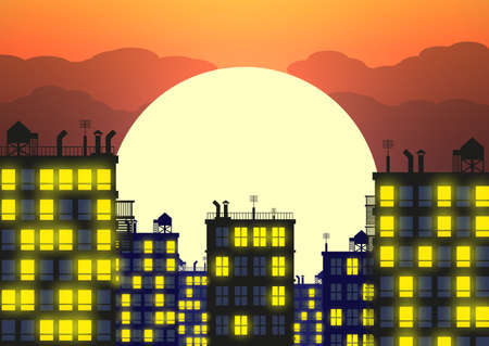Silhouette of the city in late evening, buildings rooftops and evening sky with setting sun. vector illustration Illustration