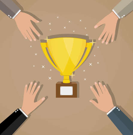 commendation: Competition between businessmans for golden trophy cup. Business concept. Business or sporting achievements, the championship winner. victory.