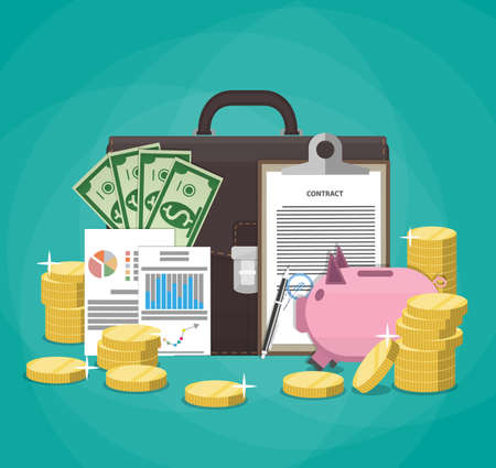 signed: Saving money. Business, finance and investment concept. Piggy Bank, coins, dollar banknotes, signed contract, financial papers, business briefcase.