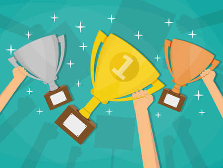 commendation: Hands holding trophies winner cups. Business or sporting achievements, the championship winner. victory. Vector illustration in flat style on green background