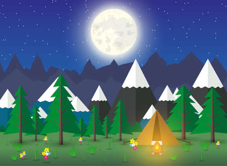 campsite: Summer Campsite with a campfire in night time, Forest, Mountains, Sky, stars, moon. travel and vacation concept, eco tourism. vector illustration in flat design Illustration