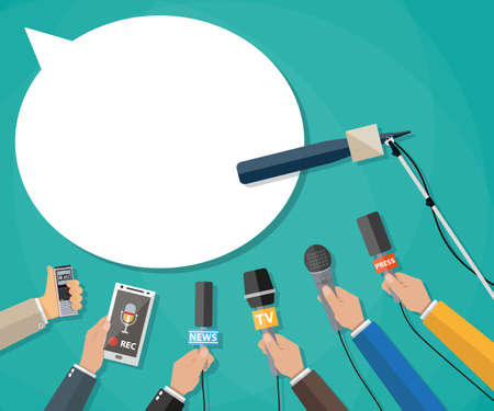 hot news: Few hands of journalists with microphones, tape recorder and smartphone. journalism, live report, hot news, television and radio casts.