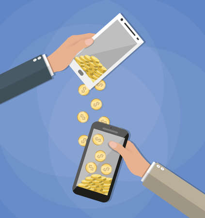 wirelessly: Mobile banking concpet. People sending and receiving money wireless with their mobile phones. Hands holding smart phones with banking payment apps Illustration