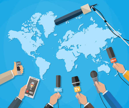 hot news: Few hands of journalists with microphones, tape recorder and smartphone. journalism, live report, hot news, television and radio casts concept. Stock Photo