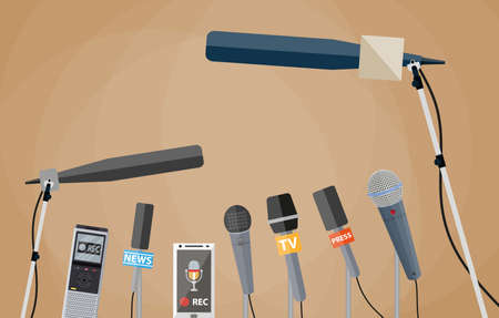 voice recorder: Microphones, tape recorder and smartphone with voice recorder app. journalism, live report, hot news, television and radio casts concept. vector illustration in flat style, brwon background