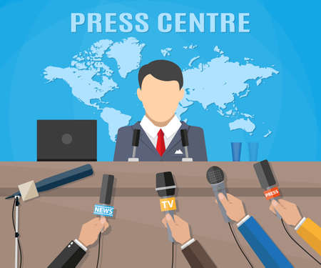 press conference: Press conference, world live tv news, interview. hands of journalists with microphones.