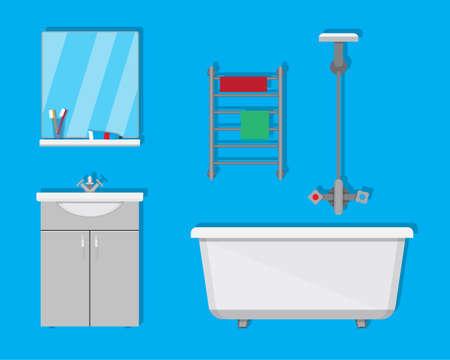 washbowl: Bathroom with furniture. Washbowl with mirror, bathtub, towel dryer. Illustration
