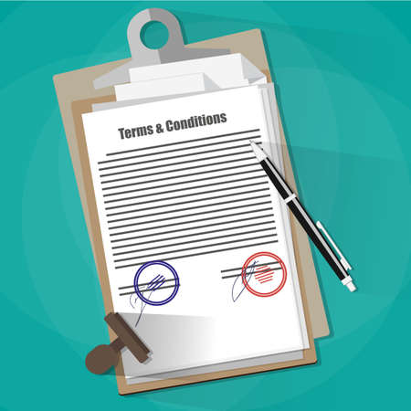 Examining the Terms and Conditions of a Legal Agreement. contract papers, stamp and pen. Illustration