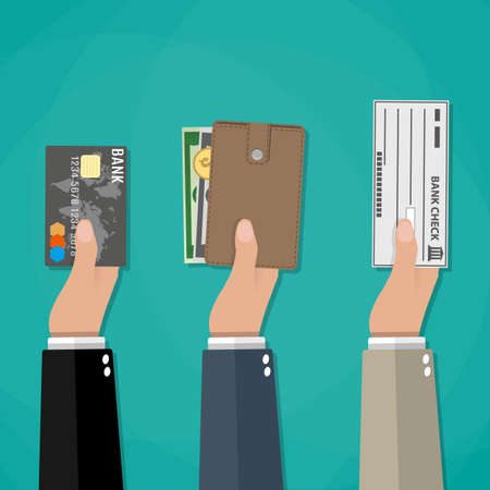 Hands holds wallet with cash, credit debit card and bank check. payment options Illustration